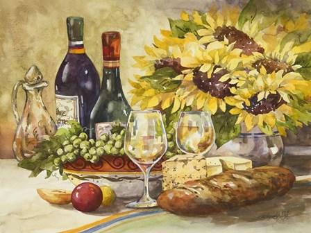 Wine & Sunflowers by Jerianne Van Dijk art print