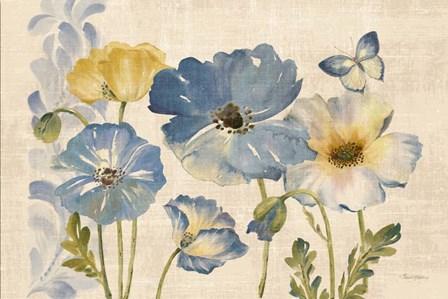 Watercolor Poppies Blue Landscape by Pamela Gladding art print