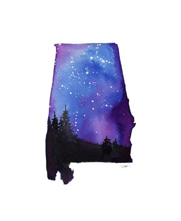 Alabama State Watercolor by Jessica Durrant art print
