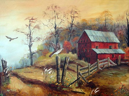 The Red Barn and The Hawk by Arie Reinhardt Taylor art print