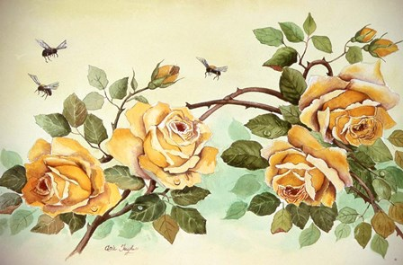 Yellow Roses with Bees by Arie Reinhardt Taylor art print