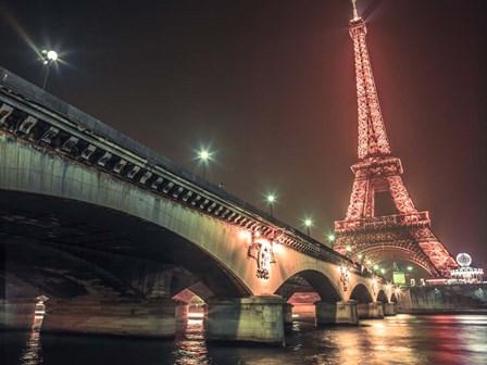 Eiffel & Bridge at Night by Assaf Frank art print