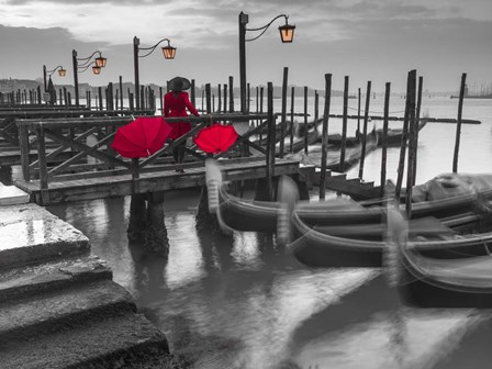 Gondolas BW & Red by Assaf Frank art print