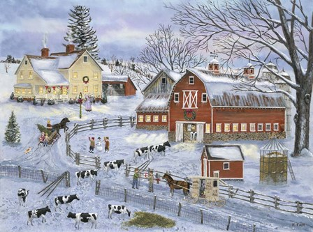 Dairy Farm at Christmas by Bob Fair art print