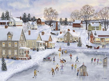Christmas at the Cove by Bob Fair art print