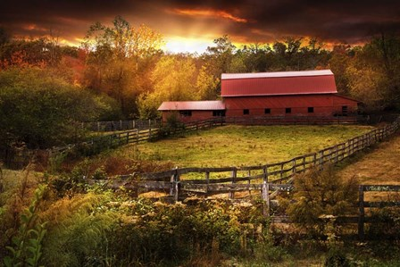 Fences at Sunset by Celebrate Life Gallery art print