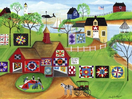 By The Sea Red Barn Quilt Makers by Cheryl Bartley art print