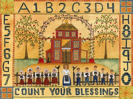 Count Your Blessings School Sampler by Cheryl Bartley art print