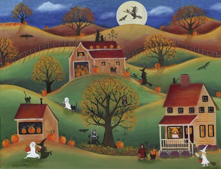 Halloween Autum Pumpkin Farm by Cheryl Bartley art print