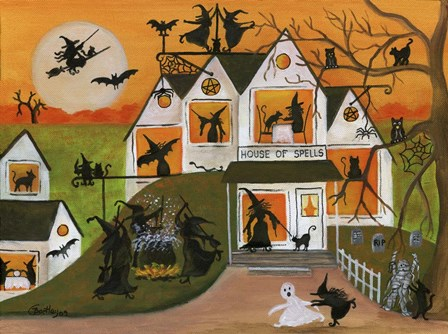Halloween Witch House Of Spells by Cheryl Bartley art print
