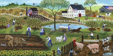 Old Tyme Americana Country Farmyard by Cheryl Bartley art print