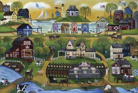 Pigasso Folk Art Farm by Cheryl Bartley art print