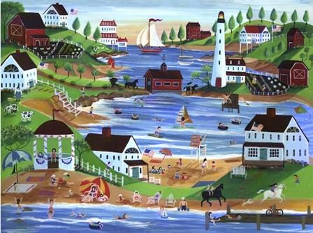 Summertime Fun Oceanside Village by Cheryl Bartley art print