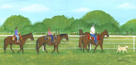 Country Horse Back Riding by Cheryl Bartley art print