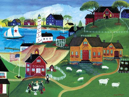 Sheep At Seaside School by Cheryl Bartley art print