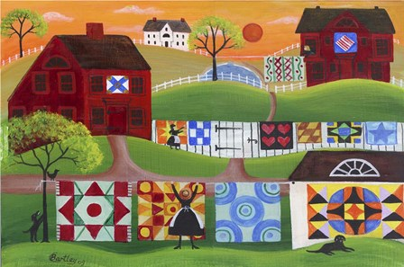 Sunrise Quilt Village by Cheryl Bartley art print