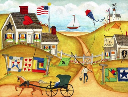 Americana Oceanside Kite And Quilt Maker by Cheryl Bartley art print