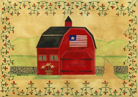 Primtive American Red Barn by Cheryl Bartley art print