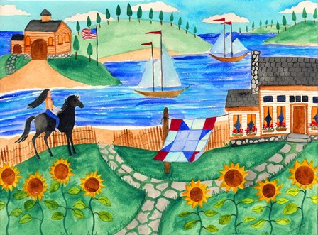 Cottage By The Sea by Cheryl Bartley art print