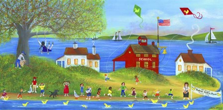 Rubber Dickie Race At Little Red School House Folk Art by Cheryl Bartley art print