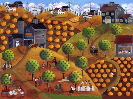 Pick Your Own Pumpkin And Apple Farm by Cheryl Bartley art print