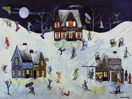 Mountain Ski Slope by Cheryl Bartley art print