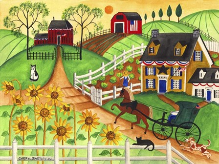 Country Sunflower Quilt Farm by Cheryl Bartley art print
