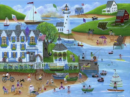 Folk Art Summertime Fun at Seaport Inn by Cheryl Bartley art print