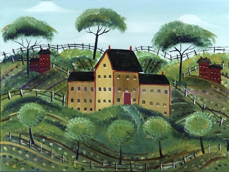 Old Family Country Home by Cheryl Bartley art print