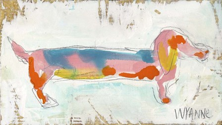 Doxie on Reclaimed Wood by Wyanne art print